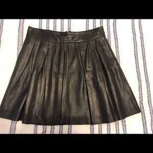 Banana Republic Pleated Leather Mini-Skirt